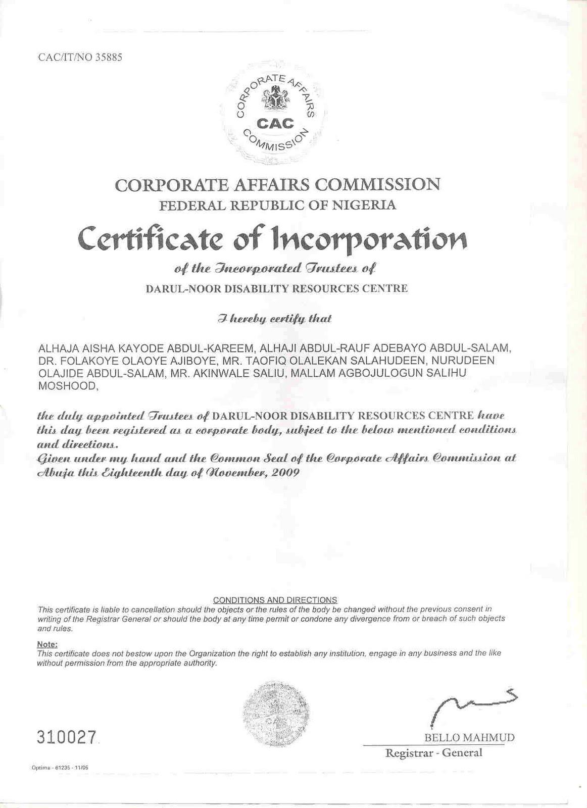 Darul Noor Disability Resources Centre Nigeria Certificate Of