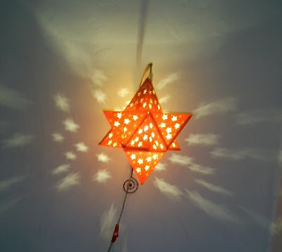 three dimensional Star of David lanterns