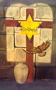 Crucifixion art Yellow badge