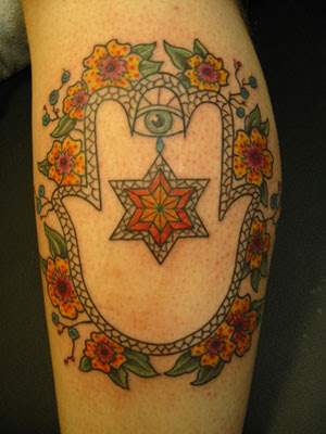 Star of david tattoo showing fatima hand with david shield for Star of david tattoo designs
