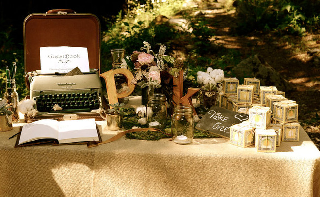 Typewriter mason jars and yummy candles as favors NOT a big fan of