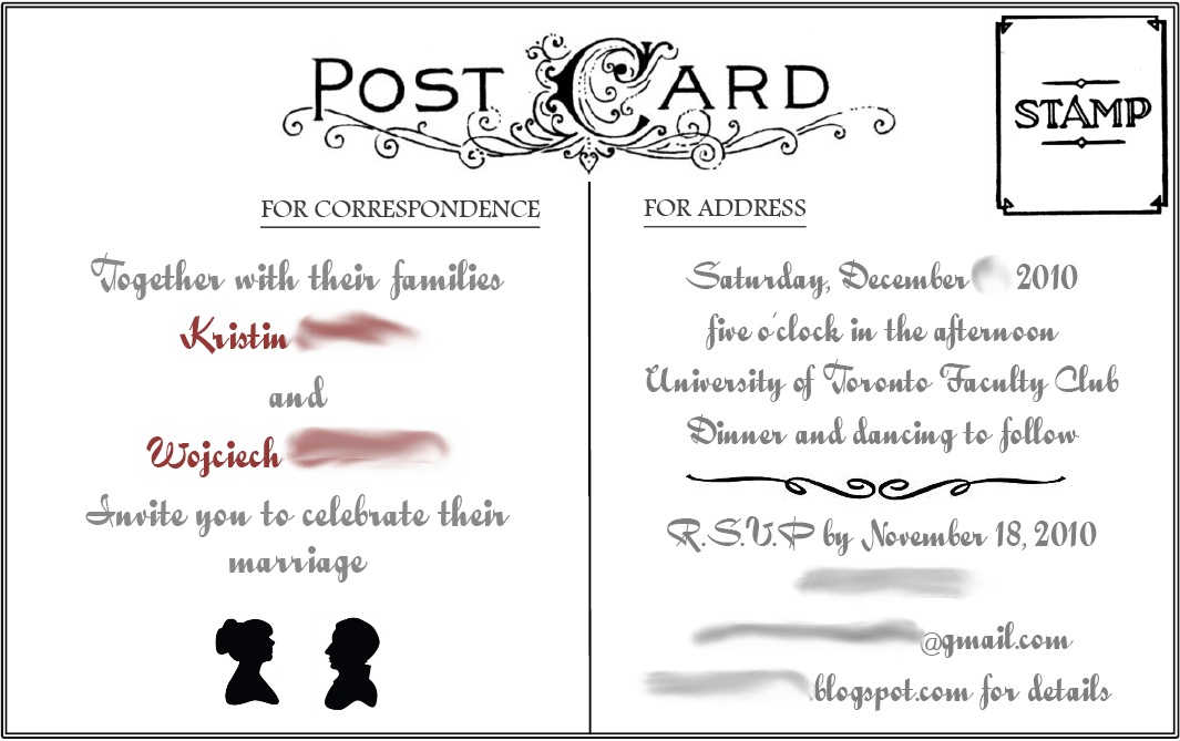 Here's a look at what we designed (this is not the finished invite):
