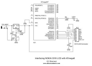 Design With Microcontrollers NOKIA 3310 LCD Interfacing With ATmega8 - Circuit Diagram Nokia 3310