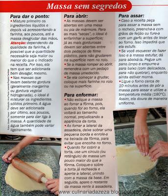 DICAS PARA MASSAS DE TORTAS