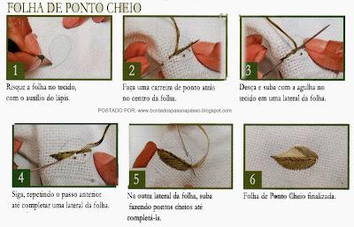 BORDADOS DE FOLHA DE PONTO CHEIO PASSO A PASSO