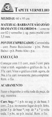 RECEITA DE TAPETE VERMELHO EM CROCHE FILÉ