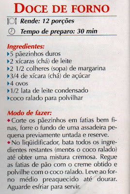 RECEITA DE DOCE DE FORNO COM PÃEZINHOS DUROS