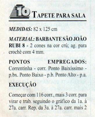RECEITA DE TAPETE DE CROCHE PARA A SALA