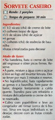 RECEITAS DE SORVETE CASEIRO