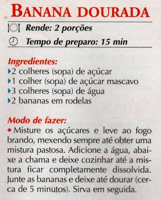 RECEITA DE DOCE DE BANANA DOURADA