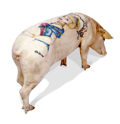 Above: stuffed tattooed pigs