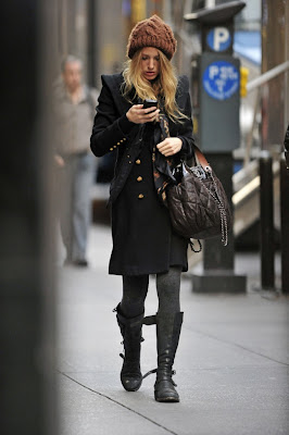 Blake Lively Boots on Blake Lively  Boots  Collant  Coat  Chanel  Hat  Wool