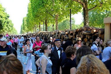 exposition sur les champs elysées à Paris 42 mégatonnes avec art aquitaine