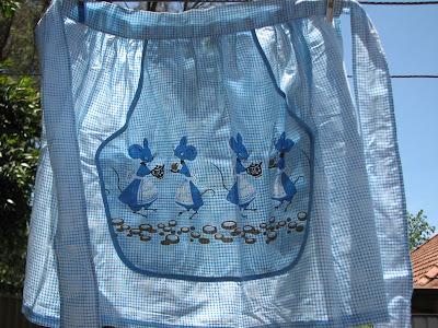 blue gingham apron