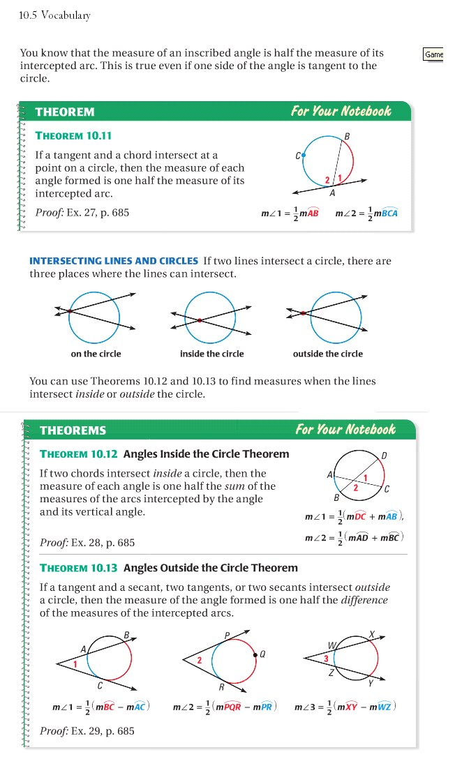 angle relationships in circles practice