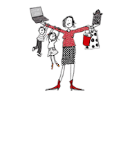 Thuiswerkmama logo, getekend door Gurli Feilberg