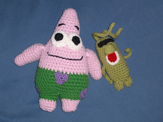 Free Crochet Pattern Patrick Star : Lady Crochet: Spongebobmania: Patrick and Plankton