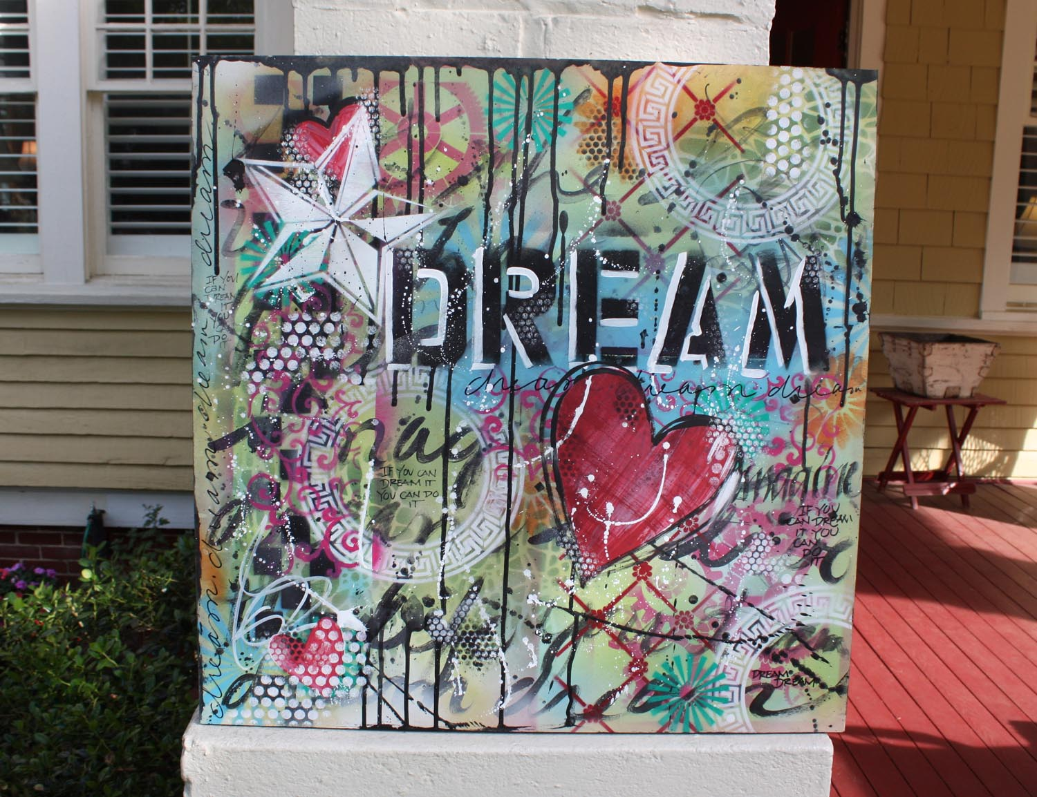 graffiti art-- Dream with a heart and layers of color and other words...