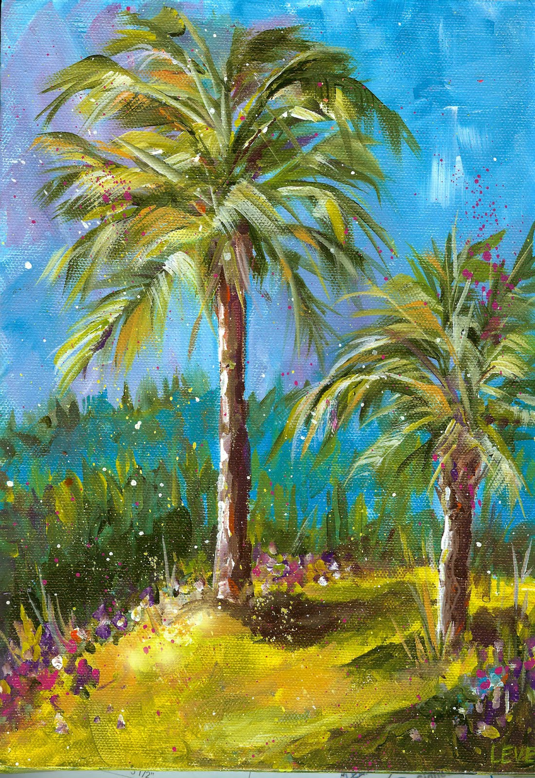 Art du jour by martha lever palm tree fun class for Palm tree painting