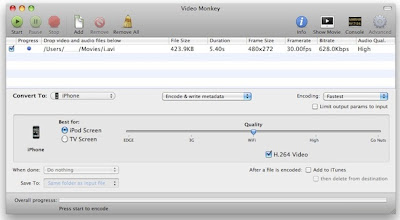 VideoMonkey Mac OSX : Convertir des Videos pour iPad, iPhone, iPod (gratuit)