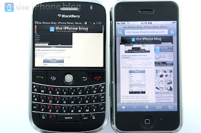 iphone vs blackberry bold 9 BlackBerry vs iPhone : Le Duel (Photos Video)