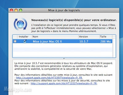 osx 10.5.6 update Maj Mac OSX 10.5.7 Disponible (gratuit)