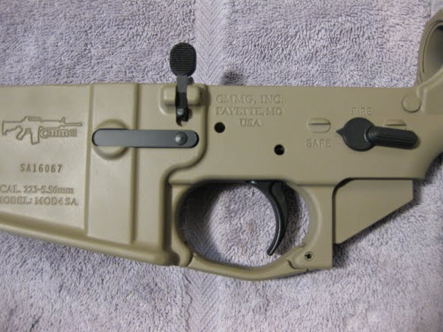 ar15 reciever after coyote tan and black