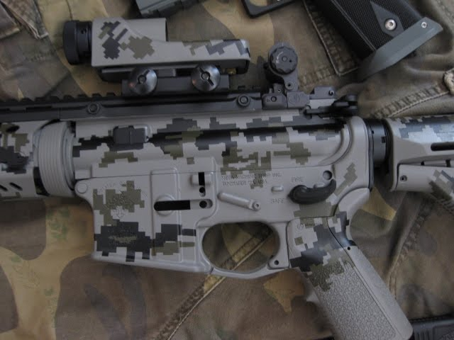 Close up urban camo ar15