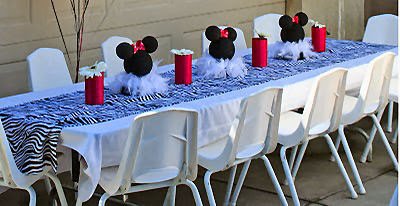 mesa fiesta Minnie Mouse cebra