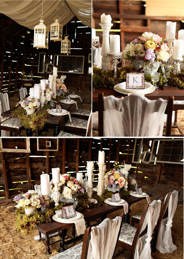 Delicate napkins and loosely wrapped chairs bring in a decidedly vintage