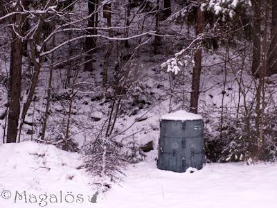 Bild från lilla köksfönstret in i skogen, snö på backen igen.