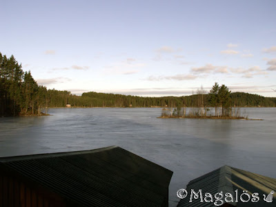 Vy ut över mitt paradis tidigt på morgonen. Fortfarande is på sjön. (2)