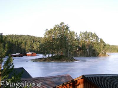 Vy ut över mitt paradis tidigt på morgonen. Fortfarande is på sjön. (3)