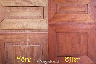 Före och efter in-oljning av ytterdörren.