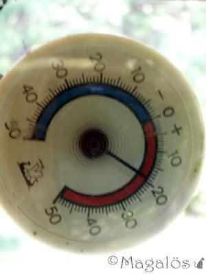 Termometer som visar nästan 20 grader varmt.