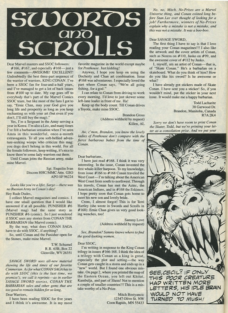 The Savage Sword Of Conan Issue #172 #173 - English 64