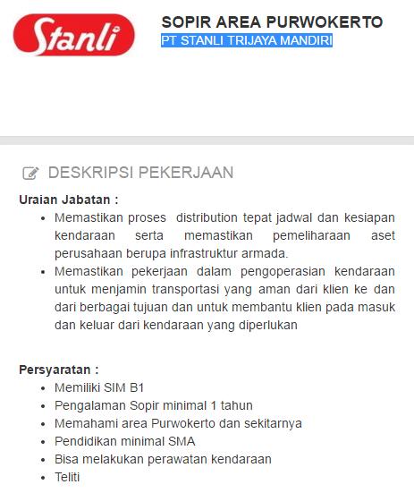 PT Stanli Trijaya Mandiri Purwokerto | Loker Satria
