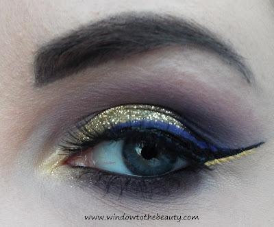 złoto fioletowy makijaż z kreską