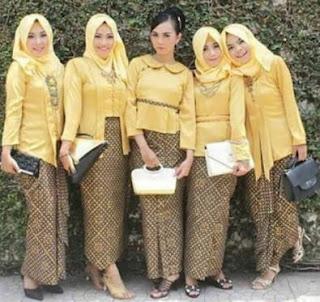 Kebaya Kartini Modern Seragam Serasi Warna Kuning Jurik