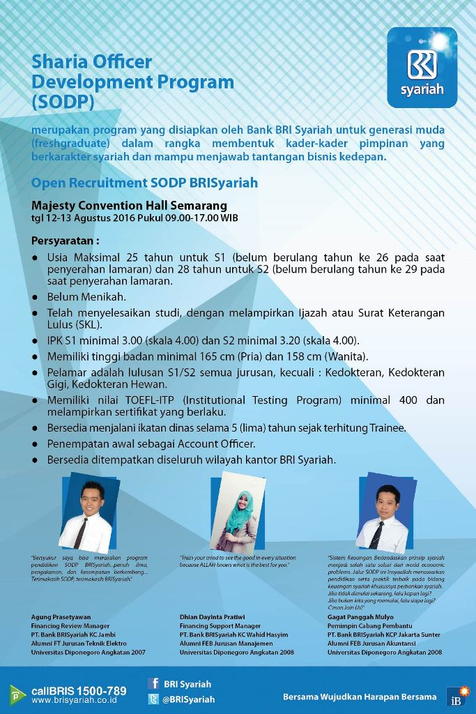 Open Recruitment SODP Bank BRISyariah