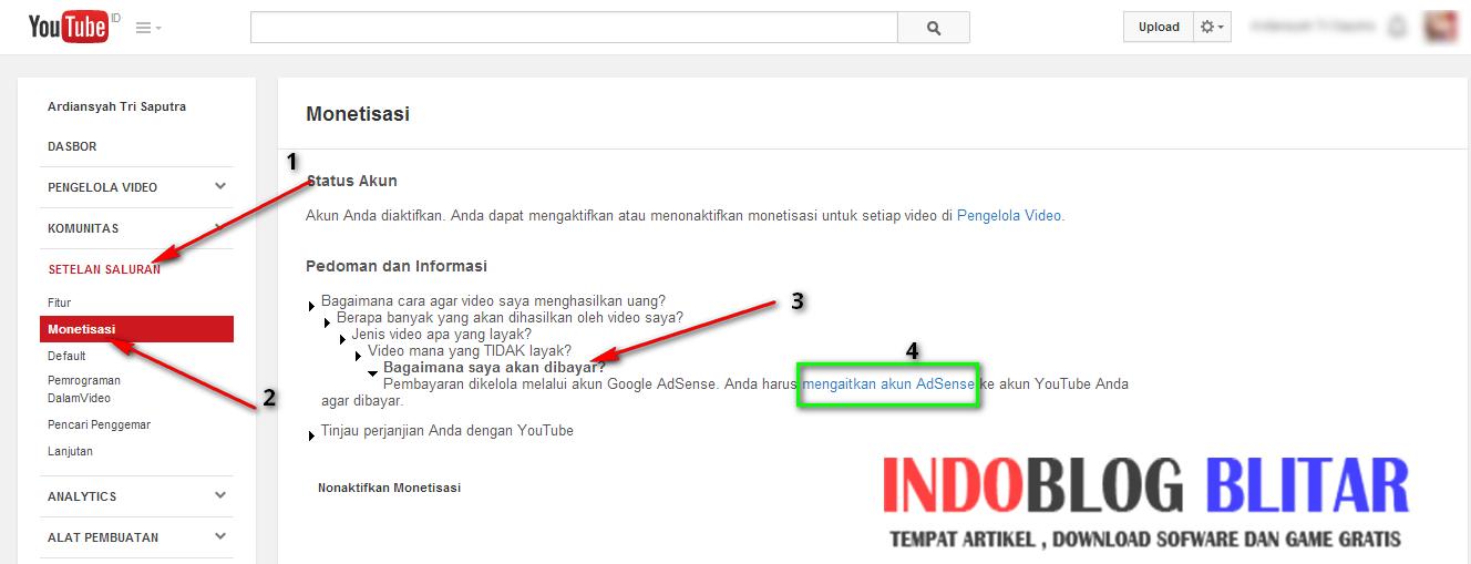 Cara Mendaftar Google Adsense Melalui Youtube | INDOBLOG
