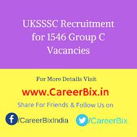 UKSSSC Recruitment for 1546 Group C Vacancies