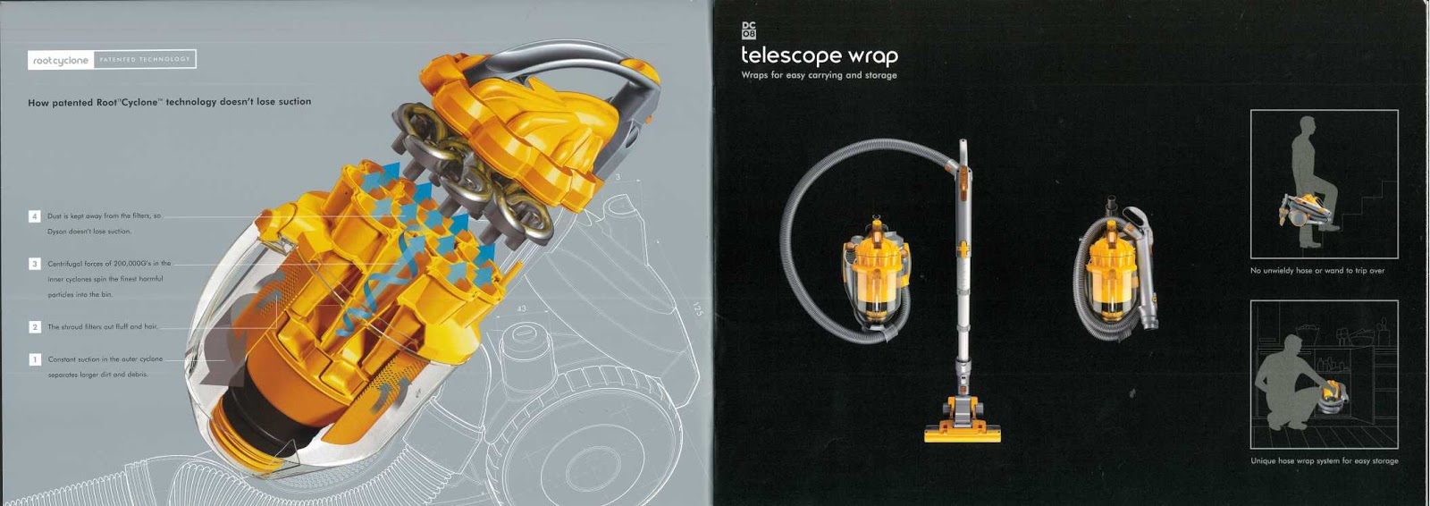 This lovely A4 brochure details the newly launched Dyson DC08 Telescope  Wrap! Wish the bins looked so shiny nowadays!