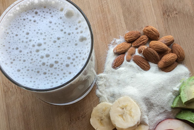 This protein-packed almond smoothie is perfect for before and after workouts, or first thing in the morning.