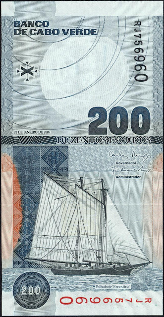 Currency of Cape Verde 200 Escudos banknote 2005 Schooner