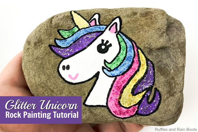 rock painting ideas with unicorns