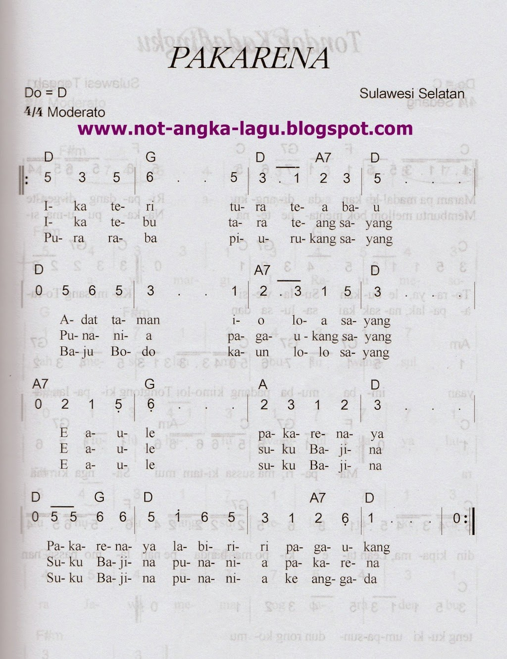 Kumpulan Lagu Bali Kumpulan Lagu Bali Terpopuler Not Angka Lagu Pakarena By Www Not Angka Lagu Blogspot Com