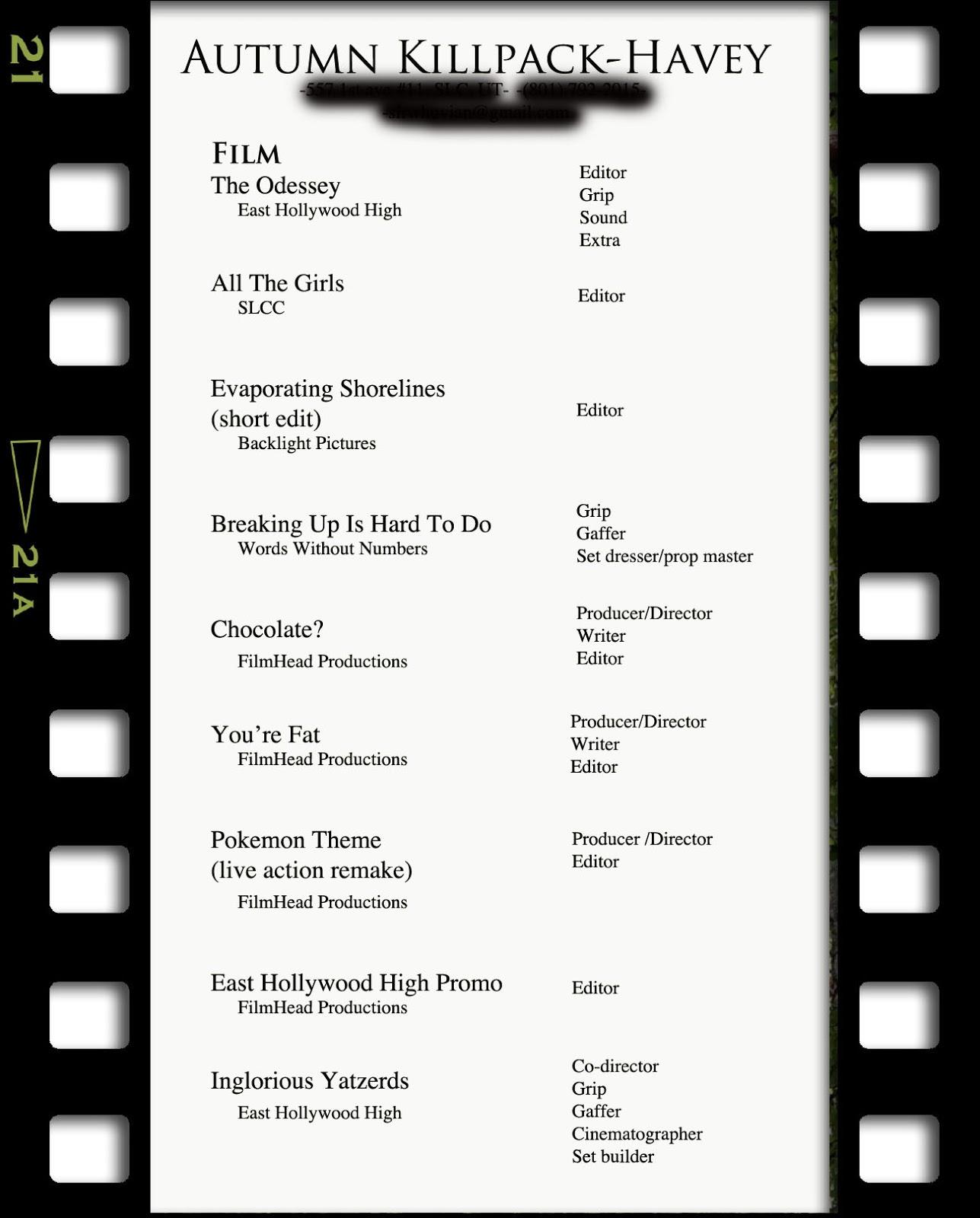 Resume For Film Internship