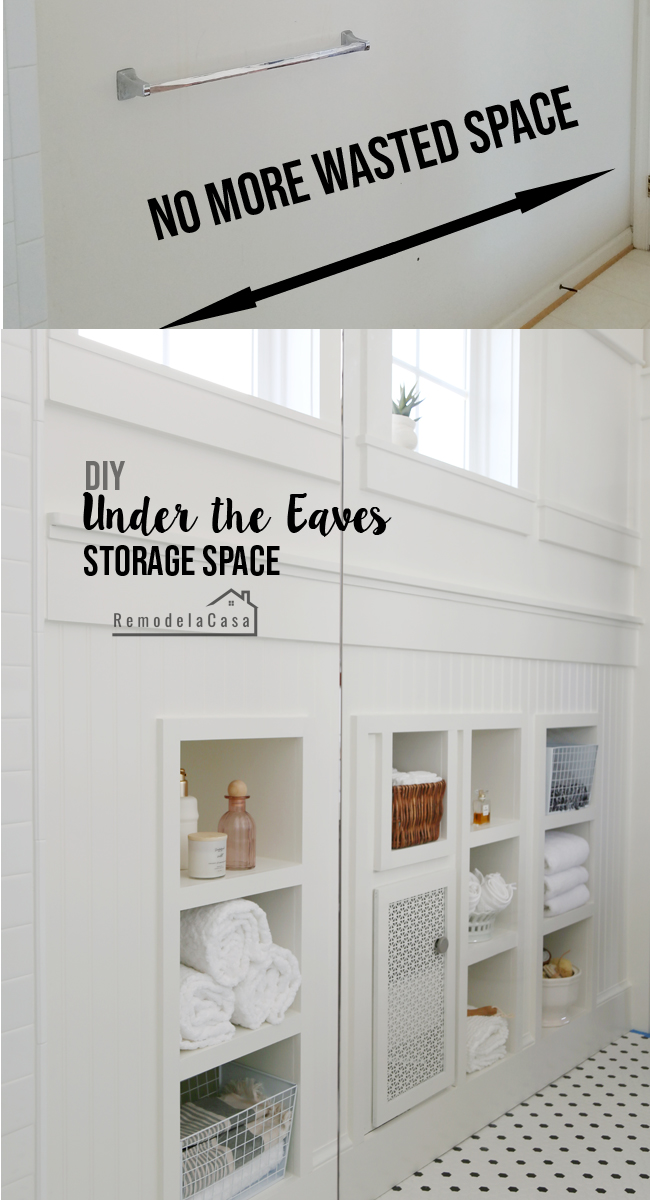 build-in shelves in the space under the eaves