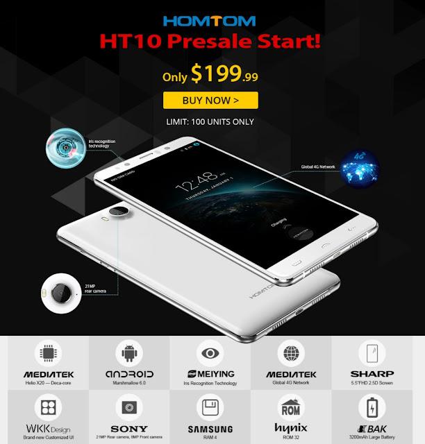 Helio X20搭載で虹彩認証対応のハイスペックスマホ、HOMTOM HT10が199ドルで登場中<PR>